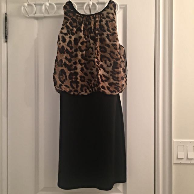 Loose Cheetah Top With Pencil Skirt Dress
