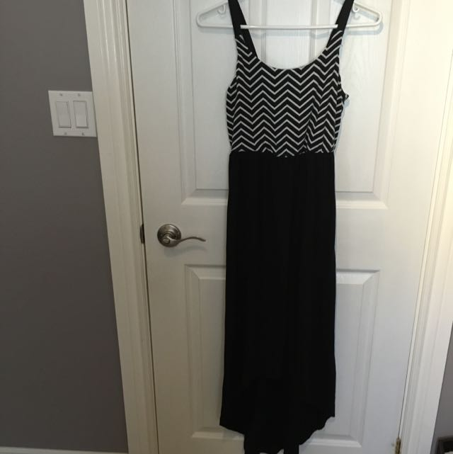 Maxi high low Dress - black with black/white stripes