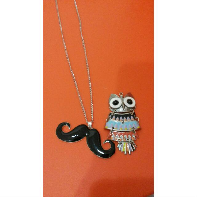 Moustache & Owl Long Necklaces