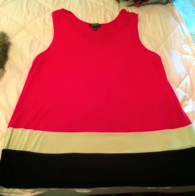 Orange, Beige And Black Tunic Dress