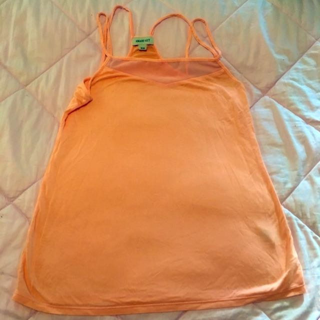 Peach Pink Tank Top With Sheer Panel