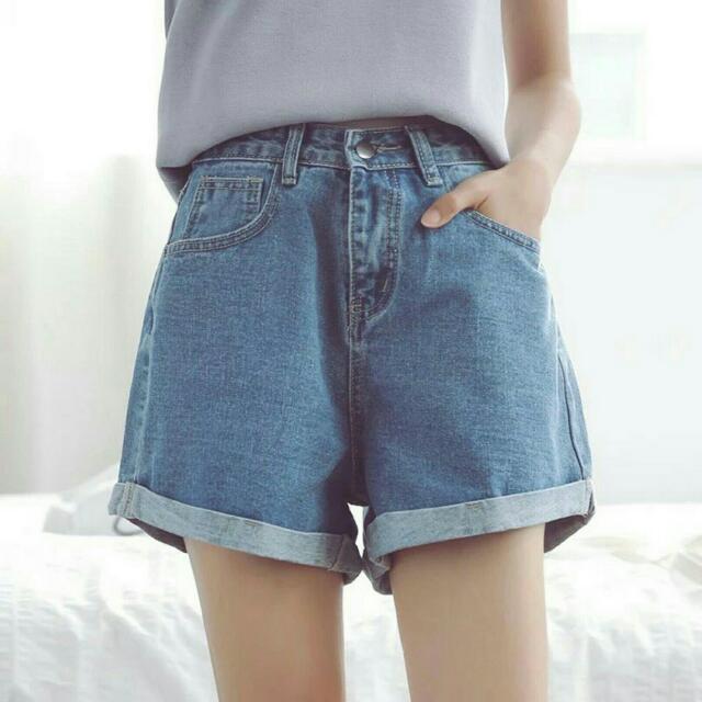 代PO(現貨)韓版高腰刷破寬鬆顯瘦牛仔短褲  A字褲 寬褲