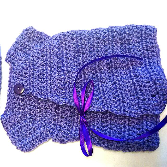 Purple Knit Cardigan And Hat