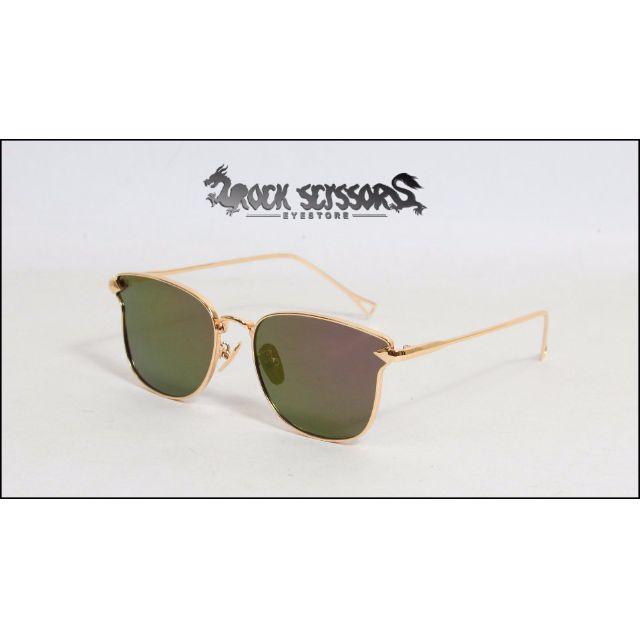 Rock scissors-[韓國製]歐美時尚 復古金屬細邊 流線箭頭設計 鐳射反光 方框太陽眼鏡/墨鏡