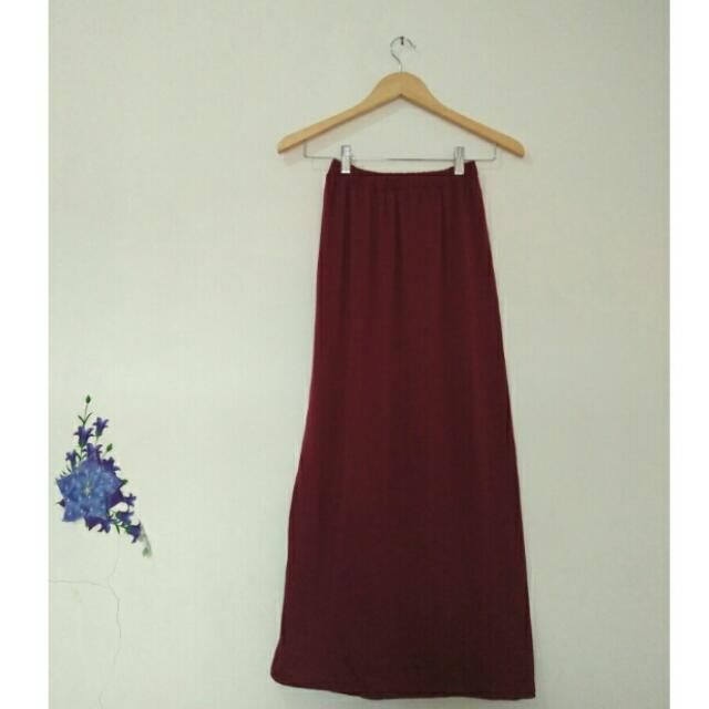 Skinny Maxi Skirt Maroon & Light Grey