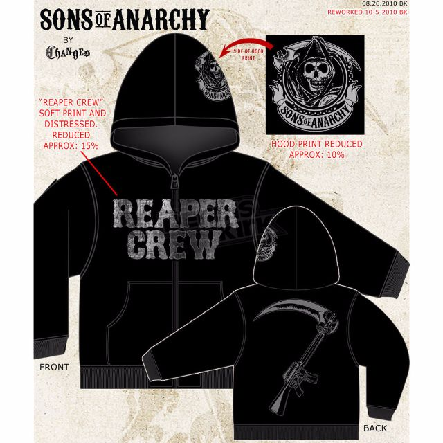 ca7e1b077f6 Sons Of Anarchy Reaper Crew Adult Hoodie - New