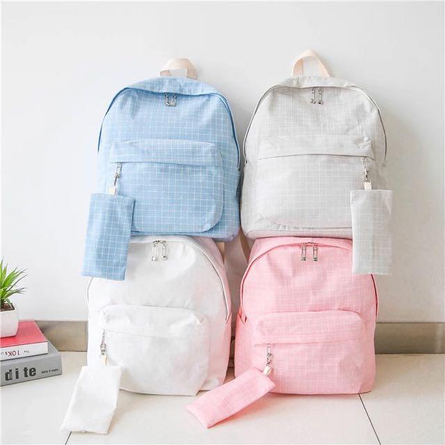 💦韓國uzzlang4色格紋清新帆布後背包雙肩背包