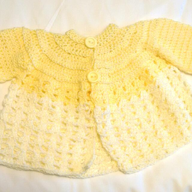 Yellow And White Log Sleeve Knut Cardigan