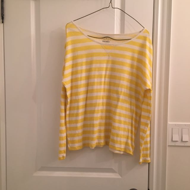 Yellow And White Striped Long Sleeve