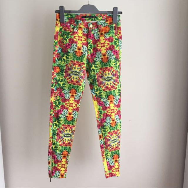 ZARA Floral Jeans / Pants