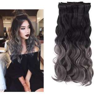 Black To Grey Ombre Synthetic Hair Extensions