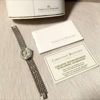 Christian Bernard 18k Gold Plated Diamond & Sapphire Crystal Watch