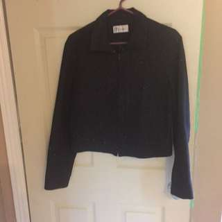 Waist-Length Black Sparkle Jacket L