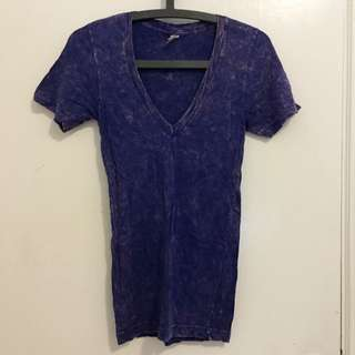 American Apparel 紫色深v領 斑駁t Shirt