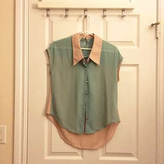 Pink Coral Green Blouse (XS-M)