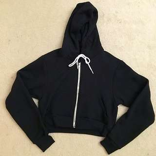 American Apparel Cropped Flex Fleece Zip Hoodie - Black, size M