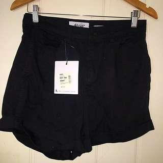 Ava Ever High Waisted Black denim Shorts
