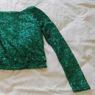 Green Sequin Top