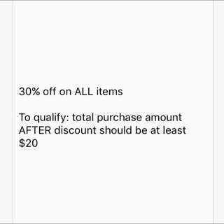 30% Off On All Items