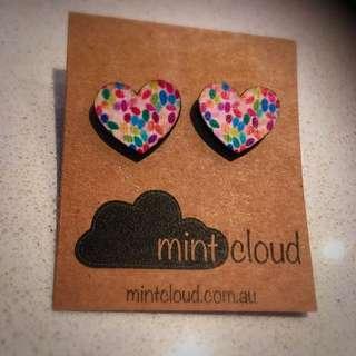 Mint Cloud Heart Earrings