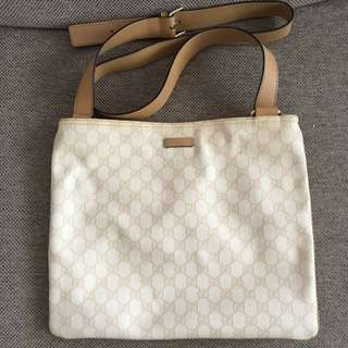 Authentic Gucci White Leather Sling Bag