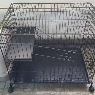 Used Cat Cage L 78cm W53 H67 Wheels With Stopper  2 Door .  Good Condition.