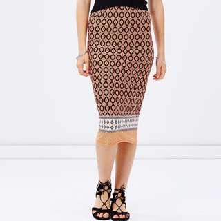 Dorothy Perkins Bodycon Tribal Midi Pattern Vintage Boho Tube Print Skirt