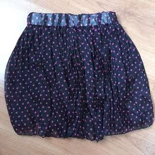 Black Polkadot Skirt/ Rok pendek