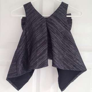 [BN] Black Striped Glittery Crop Top With Back Bow