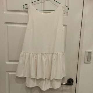 韓貨質感白色可愛連身褲裙