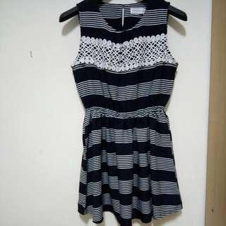 全新藍色橫條紋短洋裝