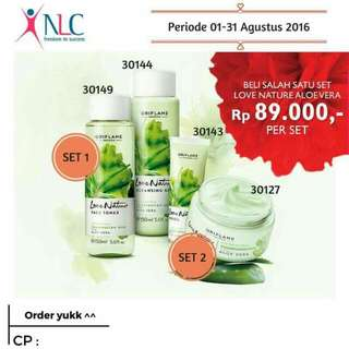 Set 1 ▶ 89000 1. Love Nature Cleansing Gel Aloevera 85rb 2. Love Nature Face Toner Aloevera 85rb  Set 2 ▶ 89000 3. Love Nature Gel Cream Aloevera 89rb 4. Love Nature Eye Gel Aloevera 59rb