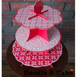 Hearts All Around - Double Sided & Reusable 3 Tier Cupcake Stand