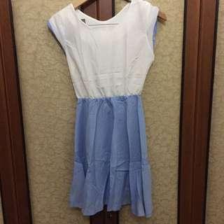 Dress Korea Putih Biru (with Tags)