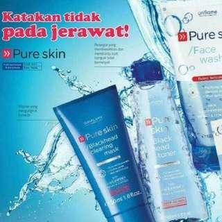 1. Pure Skin Blackhead Clearing Mask 50ml 2. Pure Skin Blackhead Toner Deep Action 150ml 3. Pure Skin Face Wash 150ml 4. Pure Skin 1 Clarifying Scrub 2  Purifying Mask 2x6 ml sachet