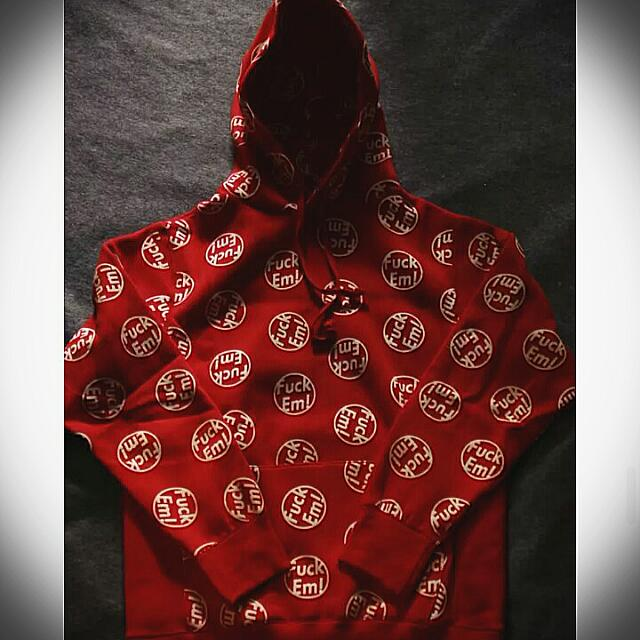 放99%新紅色Supreme Fuckem Pullover粗口衛衣