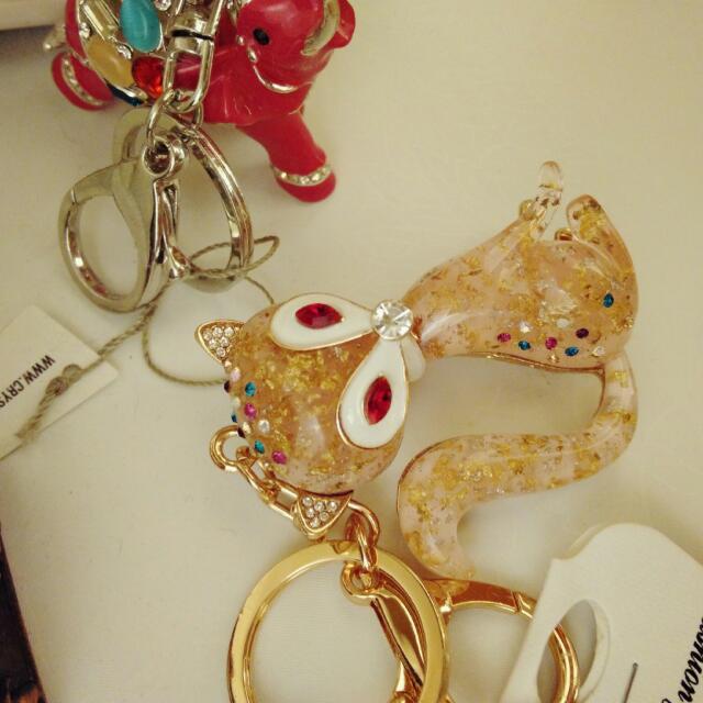 美國帶回 金粉色 狐狸 金箔 鑽 立體鑰匙圈 動物鑰匙圈 狐仙