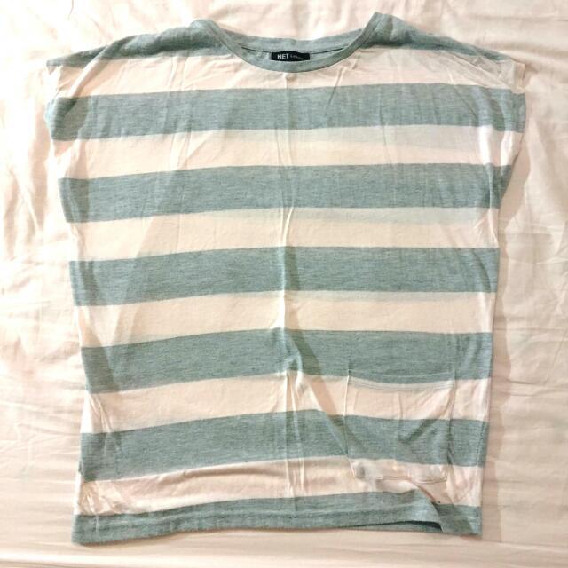 代售 NET淺粉+灰色寬條紋上衣
