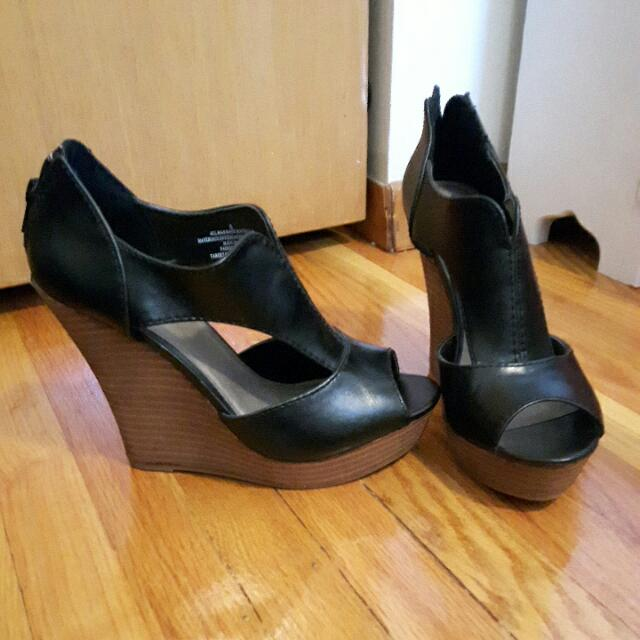 Black Faux Leather Wedge Heels