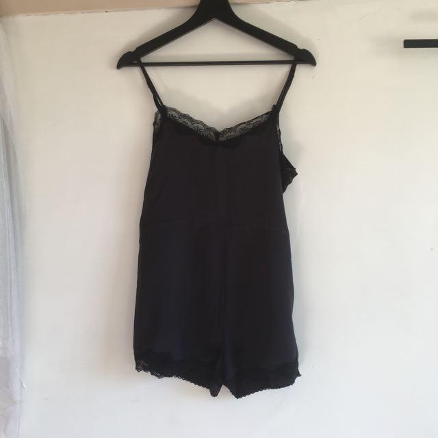 Black Silk Satin Playsuit