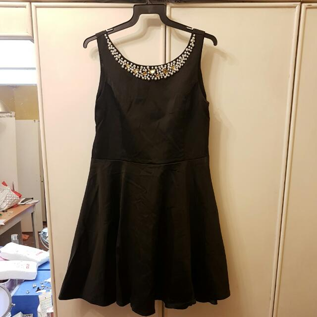 BN Charlotte Russe Bejewelled V-Back Black Flare Dress