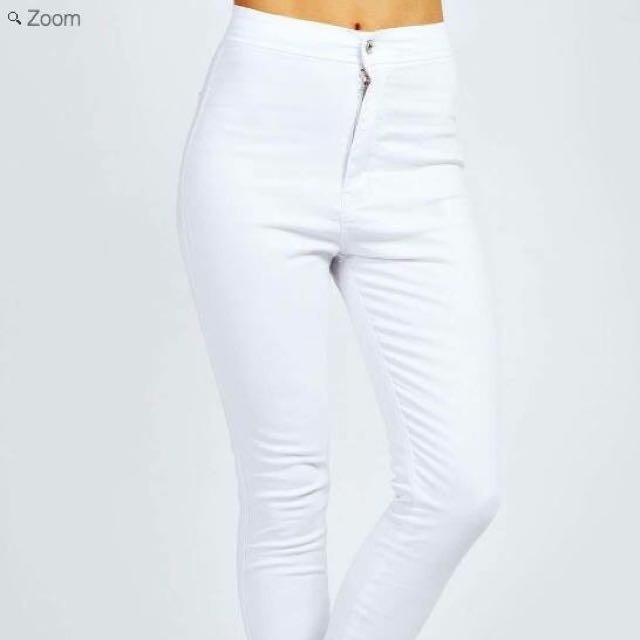 Boohoo high waisted white skinny jeans never worn