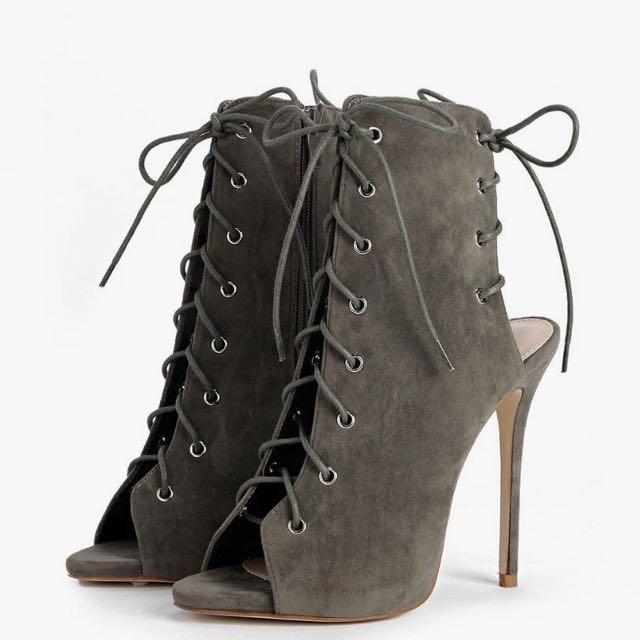 Boohoo Khaki Lace Up Heels
