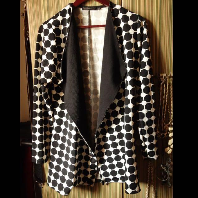 Bridget's Closet Black and White Patterned Coat