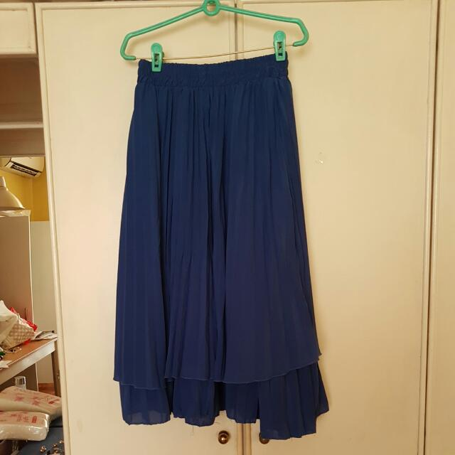 Cobalt Blue Pleated Midi Skirt (Blogshop)