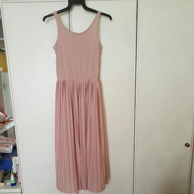 Dorothy Perkins Nude Midi/Maxi Pleated Dress