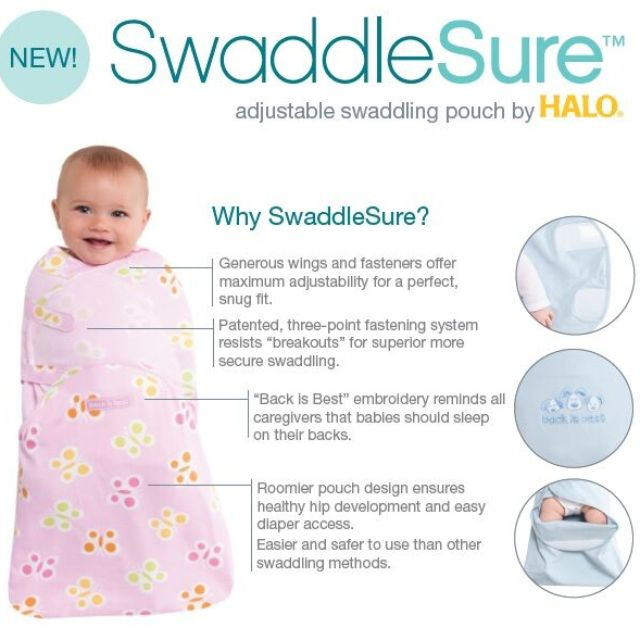 Butterfly Dot Small Halo Swaddlesure Adjustable Swaddling Pouch