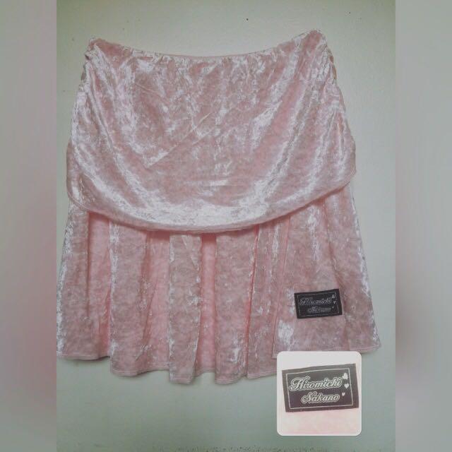 Hiromichi Nakano Baby Pink Velvet Skirt