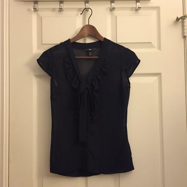 H&M Navy Blue Blouse (size 0-4)