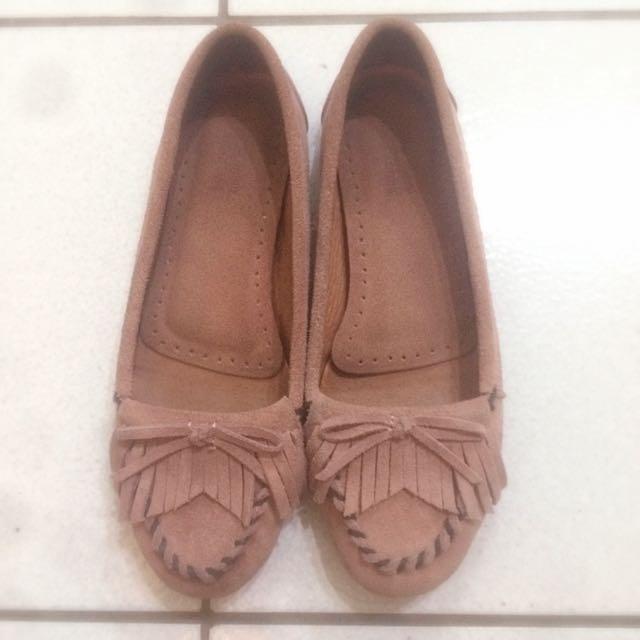 iki2 藕粉色莫卡辛便鞋